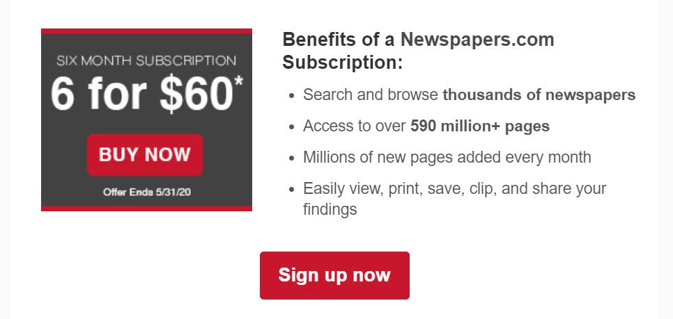 Still have more to find with the Newspapers.com Publisher's Extra? Right now, Newspapers.com has an amazing offer if you use historical newspapers as part of your genealogy research!  Get the Publishers Extra edition of Newspapers.com for a six-month period for just $60!  The  monthly price is $19.90 USD and this is a savings of 50% off that price. Click HERE to get started . . .
