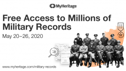 Over Memorial Day Weekend, MyHeritage is offering free access to all military records on MyHeritage from May 20–26, 2020!