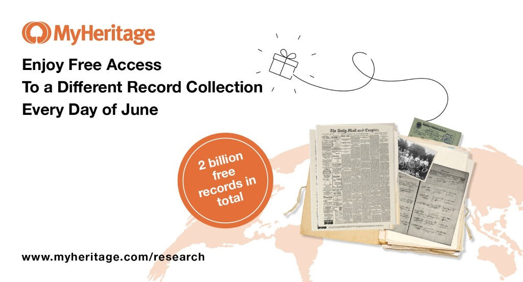 BSO Alert! Each day in June 2020, MyHeritage will open one paid-subscription-only historical record collection to the public, providing full, free access!