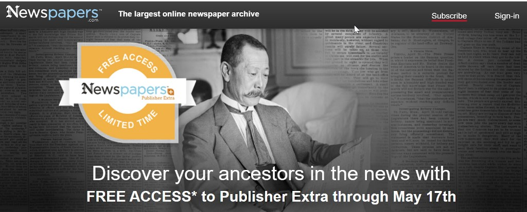 FREE ACCESS to Newspapers.com Publisher's Extra this weekend! Now through Sunday. May 17th, 2020, you can get FREE ACCESS to almost 600 MILLION pages of historic newspapers! Newspapers.com is the largest online newspaper archive. Searchhistorical newspapersfrom across theUnited States and beyond. Explorenewspaper articles and clippings for help with genealogy, history and other research.