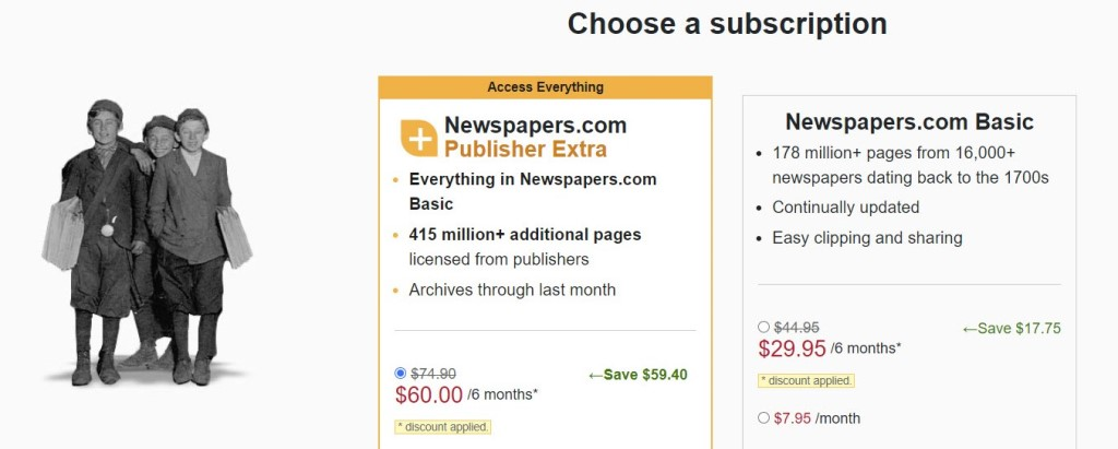 Right now, Newspapers.com has an amazing offer if you use historical newspapers as part of your genealogy research!  Get the Publishers Extra edition of Newspapers.com for a six-month period for just $60!  The regular price is $139.40 USD and this is a savings of 56% off that price. Click HERE to get started . . .