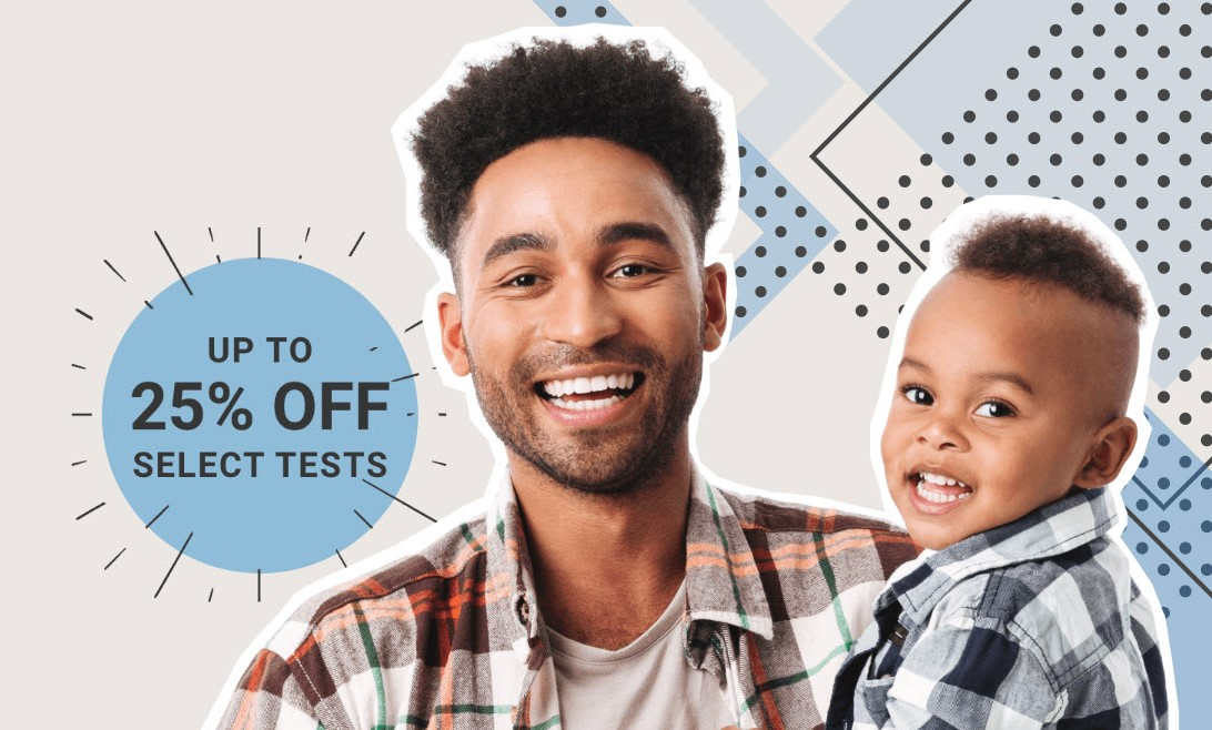 "DNA tests as low as $59 during the Family Tree DNA Father's Day Sale ""Give the gift of family discovery—because Dad genes never fade."""