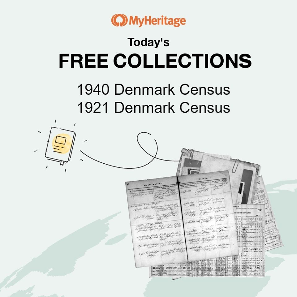 "June 2nd Databases: 1921 Denmark Census and 1940 Denmark Census with 7,307,391  records! ""The 1921 census of Denmark was taken on February 1, 1921. It covered the entire Kingdom of Denmark, including North Schleswig, and the two constituent countries of Greenland and the Faroe Islands. Information recorded in the census includes: name, residence, gender, birth date, birthplace, marital status, position in family, profession, and religious affiliation. The 1940 Denmark Census was conducted on November 5, 1940 and provides a glimpse into the lives of the citizens of Denmark at the start of World War II. Every individual within the household at the time of the census, whether family, visitor, or employee was enumerated. Each record contains information about the specific person's given and family names, gender, residence, birth date, birth place, marital status, marriage date, and their relationship to the head of household. Additional information can be found on the images including profession, education level, and disability (hearing and vision impairment). The census was the only population registration taken in Denmark during World War II, the previous census was collected in 1930 and the following census in 1950."" Click HERE for access to the 1921 Denmark Census and click HERE for access to the 1940 Denmark Census!"