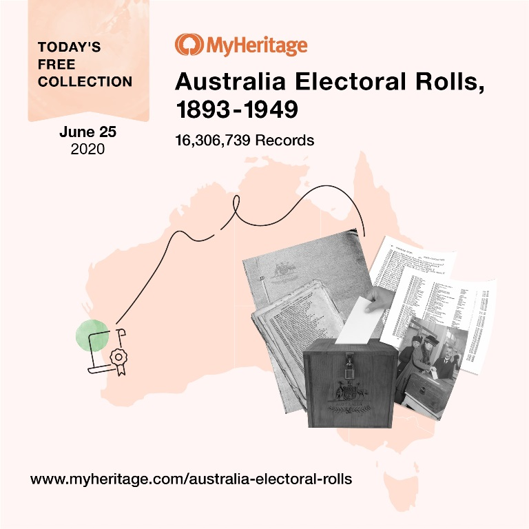Australia Electoral Rolls, 1893-1949 with 16,306,739 records. Electoral rolls are the nearest records Australians have to census listings and hence are extremely important to family historians. This collection provides information on persons in Australia who were registered to vote between 1893 and 1949 in each of the six states of Australia. The information recorded includes the person's name, gender, residence, occupation, and polling information (i.e. division, subdivision and roll number). Click HERE for access!