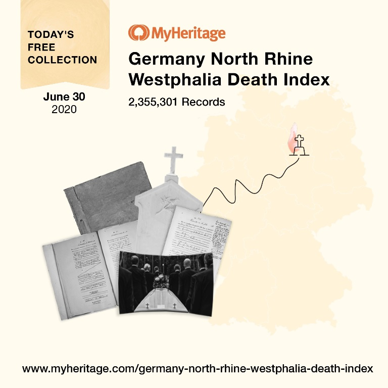 Germany North Rhine Westphalia Death Index with 2,355,301 records. This collection contains death records from the state of North Rhine-Westphalia between 1874 and 1938. The records may contain the following information: certificate number, date of registration which is different from the actual death date, name and occupation of the person reporting the death, given name, last name (and maiden name, if applicable) of the deceased, gender, religion, date and place and time of death, age at death, date and place of birth, residence and often other important information such as spouse and parents. Click HERE to access!