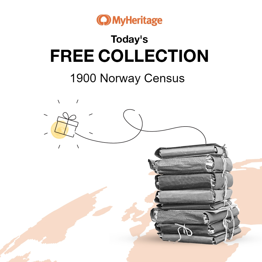 June 4th Database: 1900 Norway Census with 2,313,871 records. The 1900 Norway Census was taken on Monday, December 3, 1900 and used one form for each household. The collection contains names, genders, residences, relationships, marital status, birth years, some full birth dates, and birthplaces of all persons living in Norway and sailors on Norwegian ships. Click HERE for access to 1900 Norway Census.