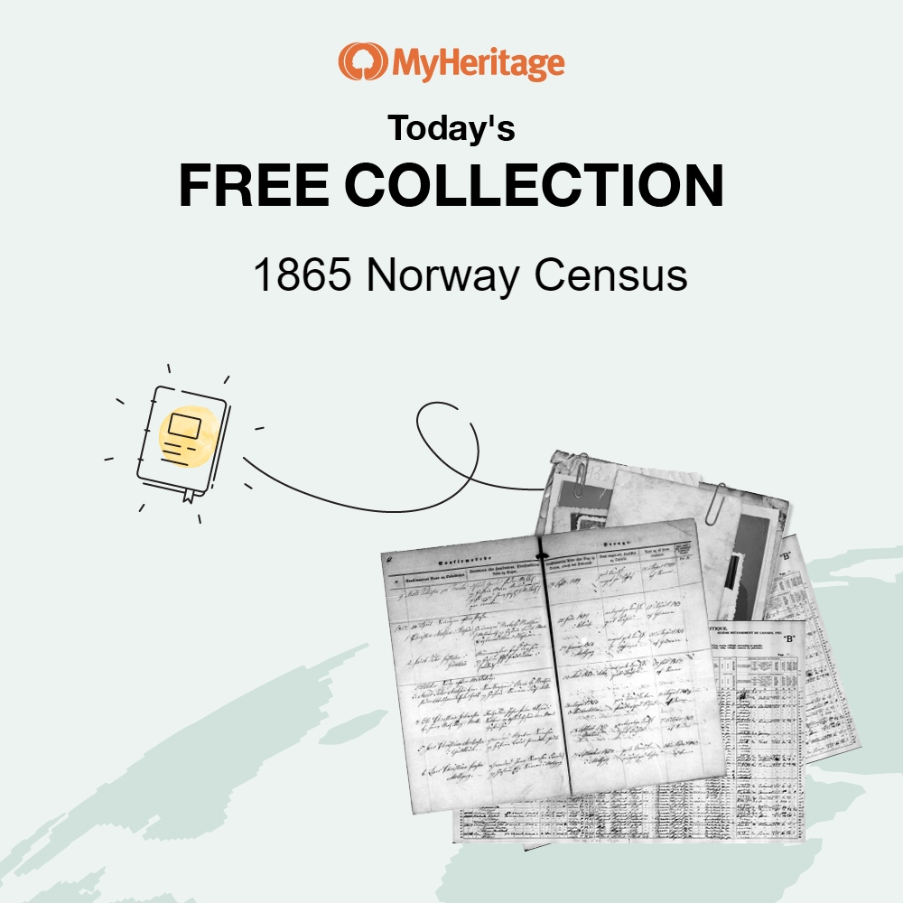June 5th Database: 1865 Norway Census with 1,688,076 records. The 1865 census is the first national census to list a place of birth for all persons recorded. This census contains the person's name, residence, status in the family, occupation, sex, marital status, age, place of birth, religion if not a member of the state church, and other miscellaneous information. Click HERE for access to the 1865 Norway Census.