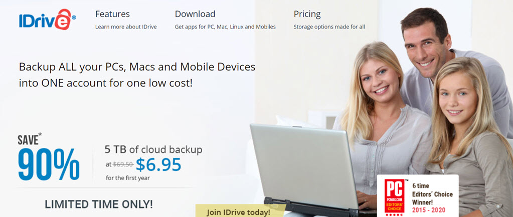 "Save 90% on iDrive 5TB automatic backup! Regularly $69.50 per year, you get the first year of 5TB cloud storage for just $6.95! Once you've scanned all those family photos, you need to have a data backup right? This is a ""set it and forget it"" program like Carbonite but much better: you can backup your mobile devices and even Facebook images!"