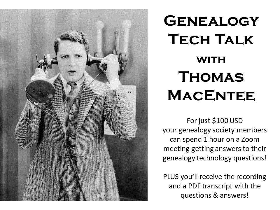 Having trouble getting SOLID and TRUSTWORTHY advice about genealogy technology? Join genealogy author and educator Thomas MacEntee as he answers YOUR QUESTIONS in this LIVE ONLINE session!