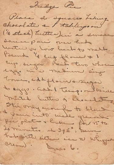 Fudge Pie Recipe, author unknown, Houston County, Tennessee Archives
