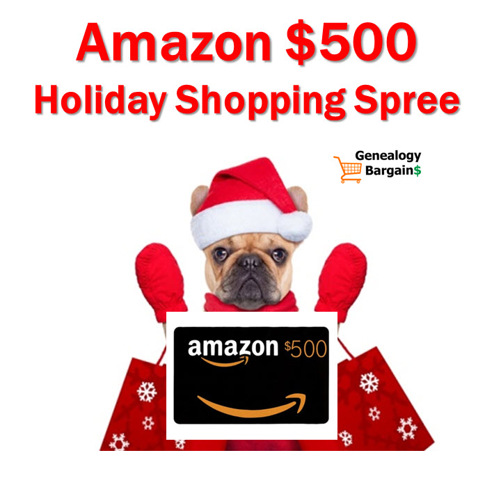 Amazon $500 Giveaway! Could you use $500 USD for food, household goods, or to feed your #genealogy habit? I'm giving away a $500 USD Amazon Gift Card and the more you share the better your chances are of winning! This is LEGIT - I do this giveaway every year to say THANK YOU to all my followers. ENTER TODAY!