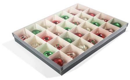 Wrap each ornament in a piece of archival tissue paper and place it in the archival box in its own compartment. It should fit fairly snug so that it doesn't move around and get damaged. Then you can put the entire box of wrapped ornaments in a larger plastic container for your normal storage.