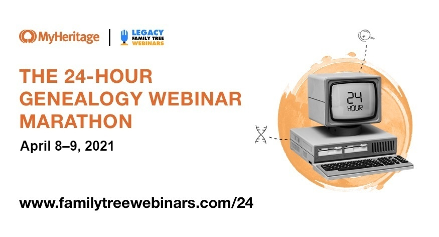 Join us in making history as we embark on the second-annual 24-hour genealogy webinar marathon, where you will learn how to trace your ancestors from the world's top genealogists and educators. From creating your own YouTube channel to DNA, from Cherokee ancestry to Canada and England, there's something for everyone... in every time zone. And thanks to FamilyTreeWebinars.com and MyHeritage, the entire event is free! Pop in for a session or two, or stick around for the full 24 hours — it's completely up to you. There will even be time for Q&A and door prizes. If you can't join us in real time, we've got you covered: all recordings will be available absolutely free for a week. Beyond that, you can watch them anytime with a webinar membership to FamilyTreeWebinars.com. If you missed last year's classes, they are each available below with a webinar membership.